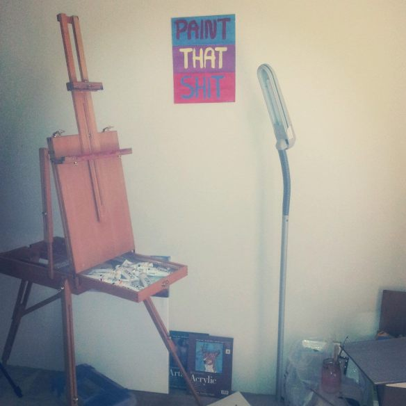 My art space in my apartment. Gradually moving from just a corner to almost half the living room, yikes!