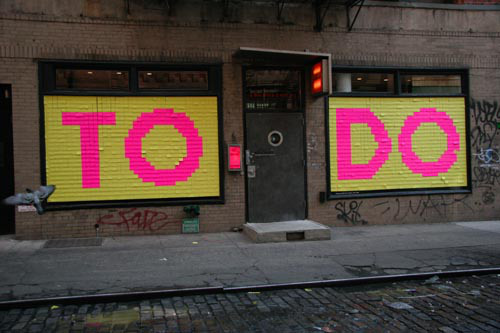 """To Do"" An installation by the art collective, Illegal Art."